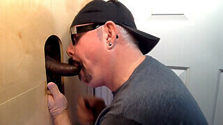 Gloryhole Throat Fucked By Curious Black Cock
